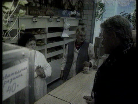The Boris Yeltsin collection CMS Clinton speaking to woman in bread shop SOT We will work together