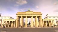 The Brandenburg Gate marks a former entrance to Berlin, Germany.