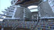 The bridge of the cruise ship Allure of the Seas perches on top of multiple decks.