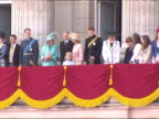 The British Royal Family on the balcony of Buckingham Palace for the Queen's birthday
