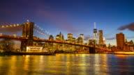 The Brooklyn Bridge at night, viewed from Brooklyn