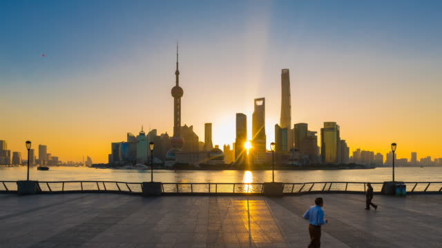 TL ZI, The Bund and Pudong skyline at sunrise