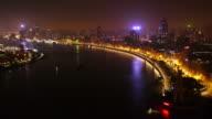 The Bund at Night Timelapse wide shot static ,Huangpu River, Huangpu, The Bund, night, city lights, Shanghai, China
