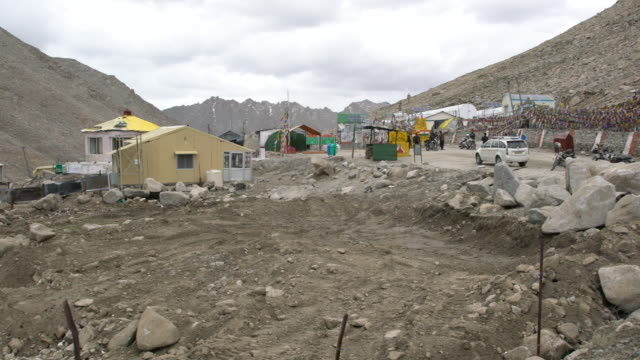 The camp at the Chang La Pass in the Himalayas, Ladakh, India