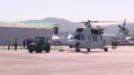 The car towing a helicopter at the Seoul Air Show
