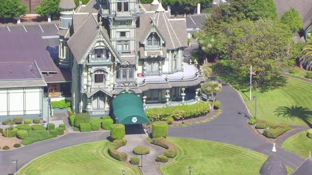 WS ZO AERIAL POV The Carson Mansion in Eureka, California