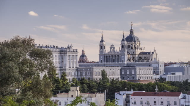 The cathedral and Royal Palace of Madrid, Spain.