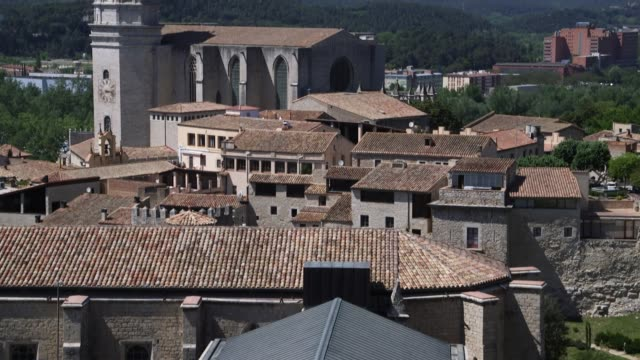The Cathedral of Girona in Spain and the surrounding landscape