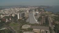 The Centro Administrativo and other office buildings line the coast of Porto Alegre, Brazil.