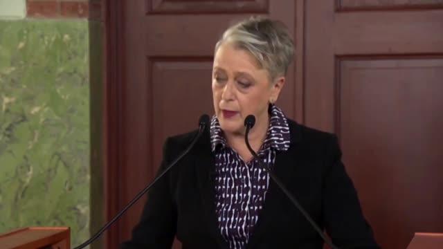 The chairwoman of the Norwegian Nobel Committee Berit ReissAndersen and Nobel committee secretary Olav Njoelstad announce that the International...