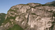 AERIAL 'The Chief' rock face at Stawamus Chief Provincial Park / British Columbia, Canada