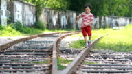 The children play on the track