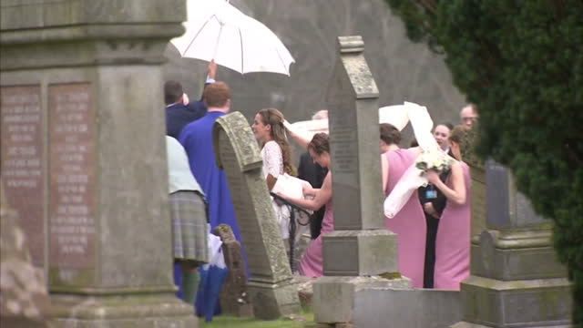 The city of Dublane is celebrating tonight as the wedding of its most famous son takes place Shows exterior shots Andy Murray arriving at church Kim...