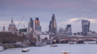 The City of London and the River Thames, UK.