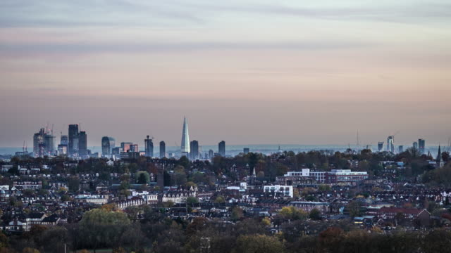 The city of London Sky line, time lapse at dusk.