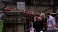 The coffin of the youngest victim of the Manchester Arena bombing Saffie Rose Roussos leaves Manchester Cathedral carried by her father Andrew –...