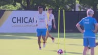 The Colombian team train for their Copa America semifinal against Chile