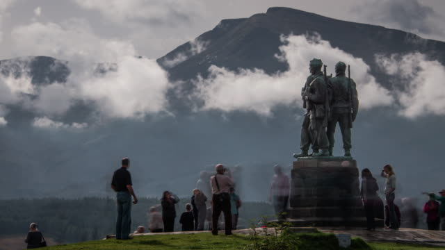 The Commando Memorial with views of the Ben Nevis range in the Scottish Highlands
