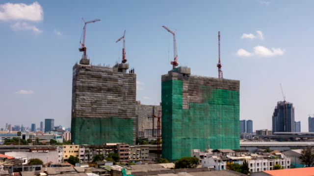 The construction site time lapse. Construction of the new building