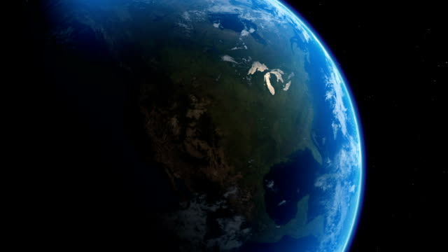 The continent of North America is seen from outer space. Available in HD.