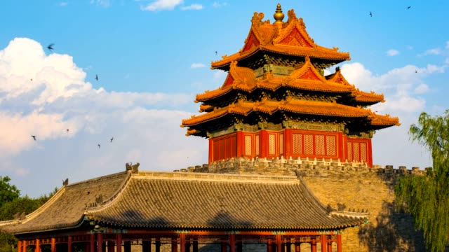 T/L The corner turret of forbidden city,Beijing,China.