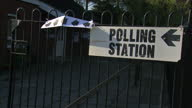 The country goes to the polls to vote in the general election Shows exterior shots polling station in Norwich with people coming going on May 07 2015...
