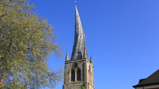 The Crooked Spire of St Mary and All saints Church, Chesterfield market town, Derbyshire England UK