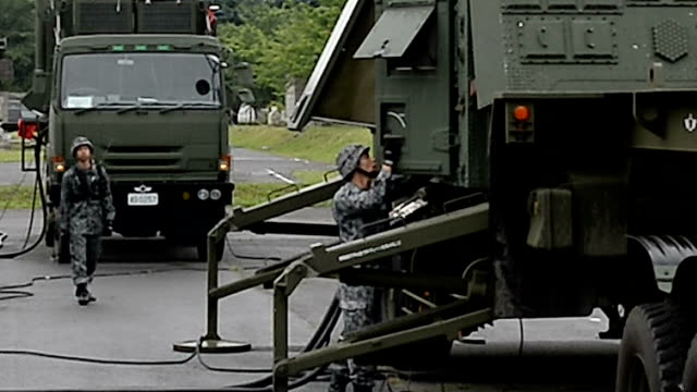 The Defense Ministry displays Patriot Advanced Capability 3 surfacetoair guided missile units at the SelfDefense Forces' Camp Asaka on June 21Japan...