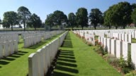The Delville Wood cemetery to British dead of the Battle of the somme at Longueval, France.