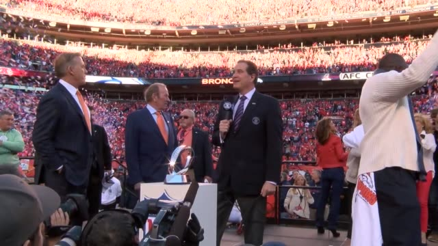 The Denver Broncos celebrated the AFC championship game win over the New England Patriots at Sports Authority Field at Mile High including owner Pat...