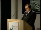 new government report ITN ENGLAND London Dept of Transport INT Deputy PM John Prescott MP to podium and speaking Reopening formal investigation into...