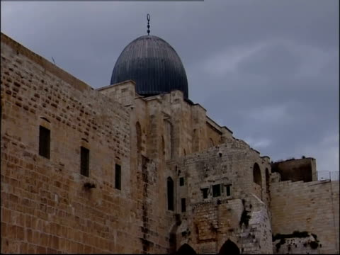 The Dome of the Rock towers above Temple Mount ruins.