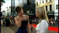 London Leicester Square EXT Keira Knightley interview SOT On her dress / On her costumes in the film / On playing Georgiana Duchess of Devonshire /...
