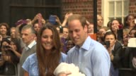 The Duke and Duchess of Cornwall emerge from St Mary's Hospital for the first time since giving birth to their unnamed son the future British King in...