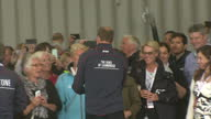 The Duke Duchess of Cambridge visit Portsmouth for the America's Cup World Series Shows interior shots the Duke of Cambridge meeting guests in the...