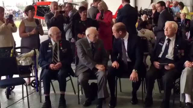 The Duke of Cambridge attends a reception and watches an air display to mark the Battle of Britain Memorial Flight's 60th anniversary during his...