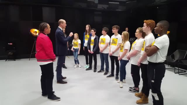The Duke of Cambridge talks to youth ambassadors for the Royal Foundation Taskforce on Cyberbullying campaign