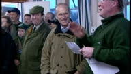 The Duke of Edinburgh attends shooting event at Sandringham Shows interior shots Prince Philip presenting awards to young boys at shooting event on...