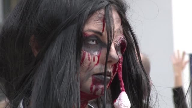 The eighth annual Zombie Walk in Bordeaux pays tribute to filmmaker George A Romero director of the classic horror film Dawn of the Dead who died in...