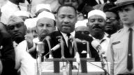 The end of MLK's 'I Have a Dream' speech during the Civil Rights March on Washington / crowds watching speech / Lincoln Memorial / Washington...