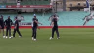 The England cricket team train at the Kia Oval ahead of their Test match against South Africa on Thurday Shots of Paul Farbrace Joe Root Moeen Ali...