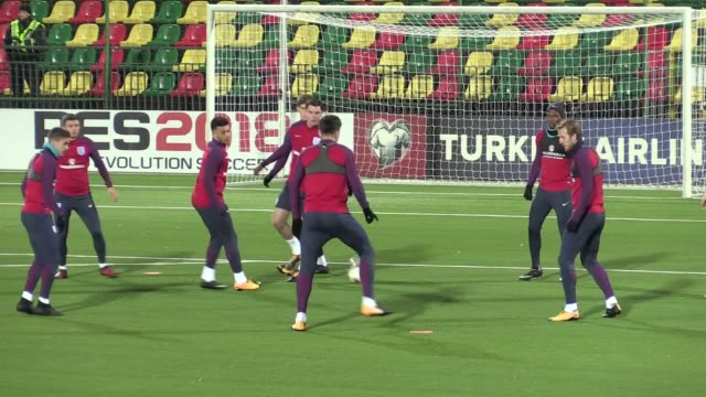 The England squad train ahead of their World Cup qualifying match with Lithuania Includes shots of Harry Kane Marcus Rashford Dele Alli and Jack...