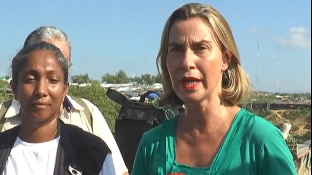 The EU's foreign policy chief Federica Mogherini and foreign ministers from Asia and Europe toured refugee camps along Bangladesh's border with...