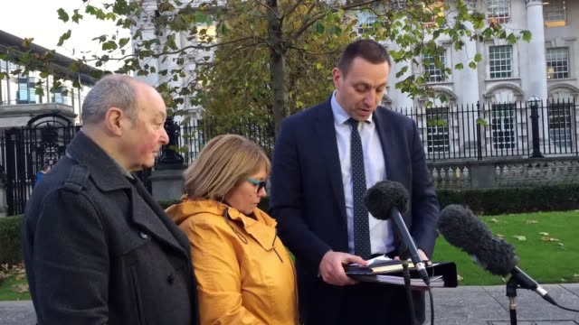 The family of Joseph Parker leave court after a coroner finds his killing by a soldier in 1971 was unjustified Family solicitor Padraig Ó'Muirigh...