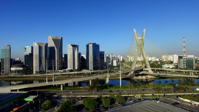 The famous cable-stayed bridge of Sao Paulo city.