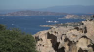 The ferries that go to the island of La Maddalena, Sardinia, Capo Testa, Olbia-Tempio. Santa Teresa di Gallura, peninsula eroded by winds