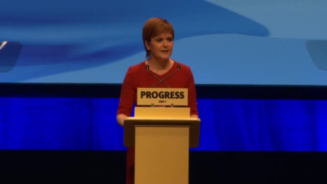 The First Minister of Scotland Nicola Sturgeon gives her speech at the Scottish National Party Conference She talks about how it's important to put...