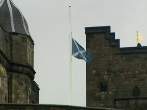 The flag at Edinburgh Castle is lowered to half mast to mark Margaret Thatcher's funeral