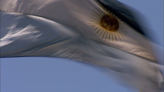 The flag of Argentina ripples in the wind. Available in HD.