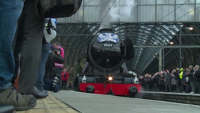 The Flying Scotsman a steam locomotive seen as a jewel of British industrial heritage leaves King's Cross Station in London on its first official...